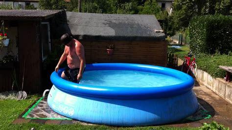 intex garten pool sprung von bank olympia youtube
