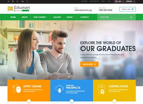 amazing education website templates for college
