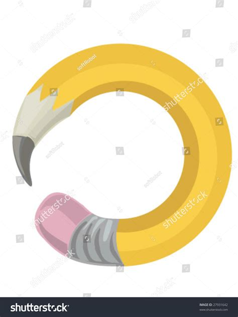 curved pencil stock vector illustration