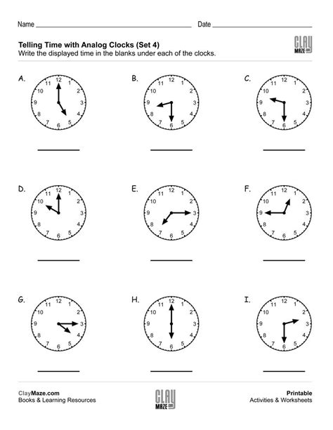 print this free worksheet on telling time with analog