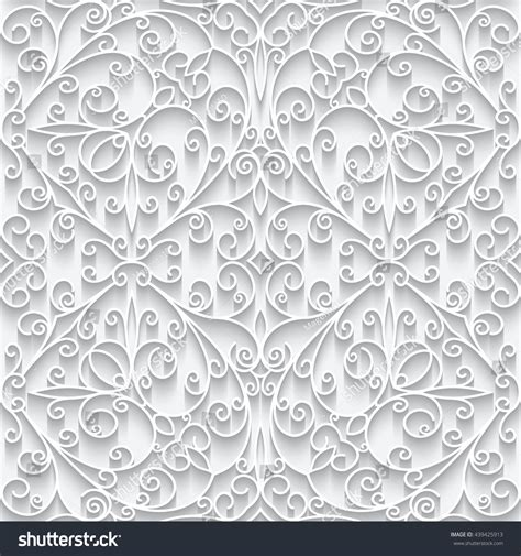 cutout paper lace texture white swirly ornament vector