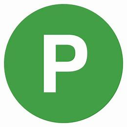 "Image result for green ""P"" in black circle"