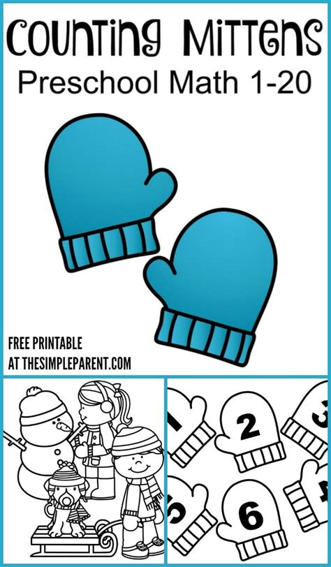 counting mittens winter activity printable for preschool