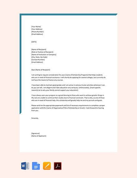 SCHOLARSHIP APPLICATION LETTER TEMPLATES PDF DOC