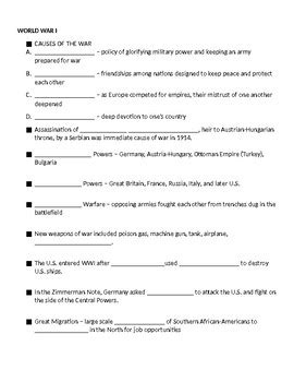 th grade u s history review notes worksheet tpt
