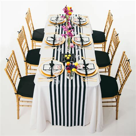 pcs x black and white striped table runner for