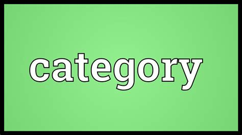 category meaning youtube