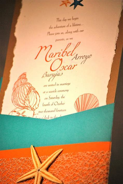 turquoise coral beach theme wedding invitation