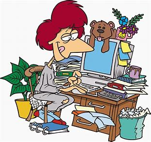 Image result for free clip art of messy lady at a desk