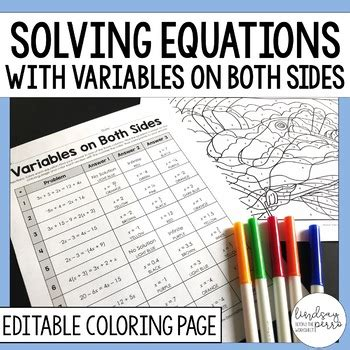 solving equations with variables on both sides activity by