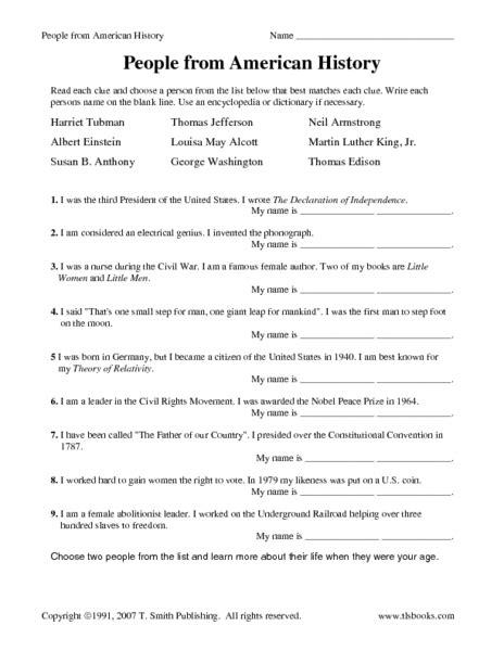 people from american history worksheet for th grade