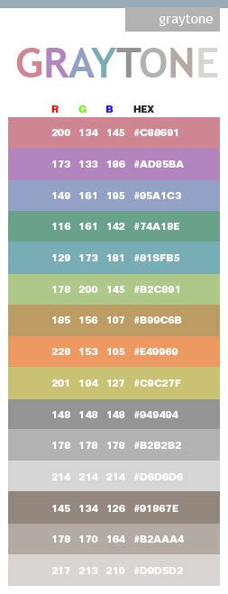 gray tones in hex and rgb for the home hex color codes