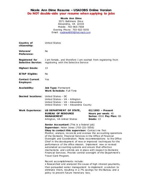 usa jobs resume builder example