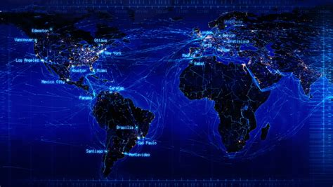 world map with connections and city lights loopable world