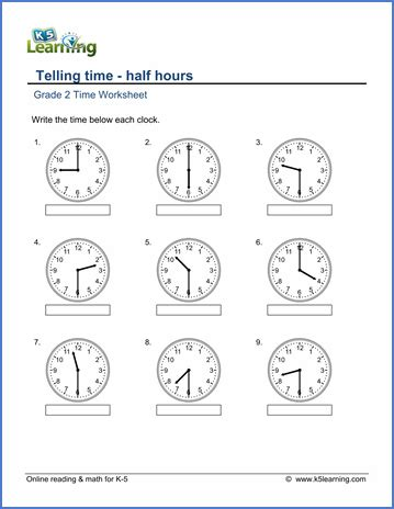 grade telling time worksheets reading a clock half