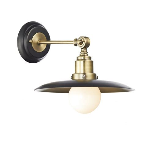 retro antique brass black wall light double insulated