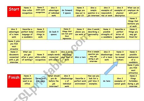 job interview vocabulary boardgame esl worksheet by hyoger