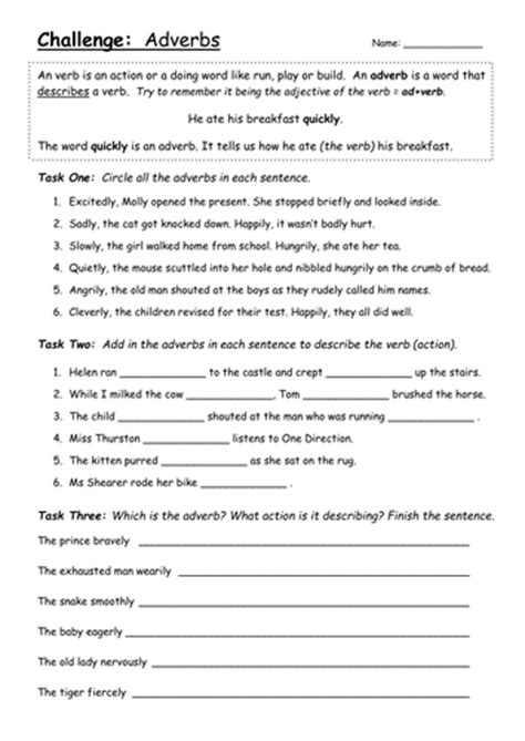 adverbs worksheet challenge year teaching resources