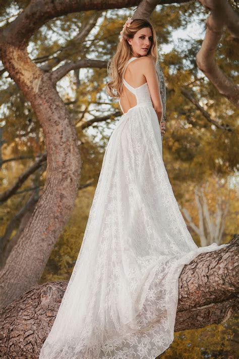 romantic backless silk wedding dress dreamers and lovers