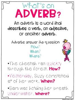 adverbs adjectives freebie by more time teach tpt