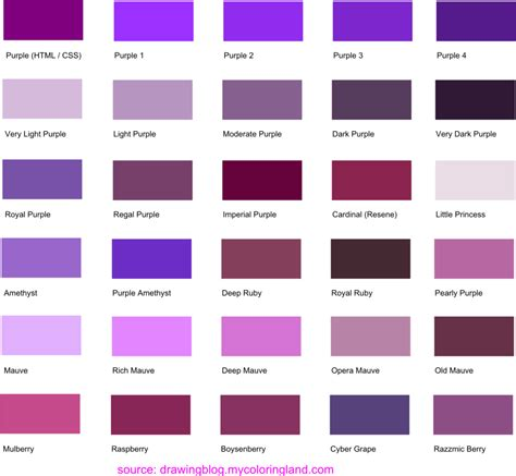 hues shades and tints of purple common names their rgb