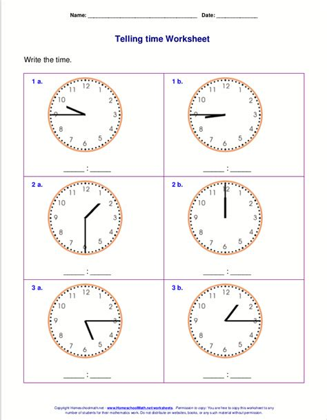 telling time worksheets for nd grade