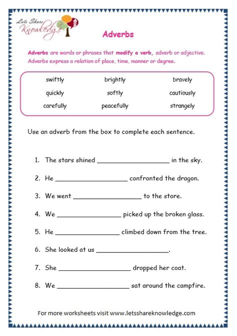 grade grammar topic adverbs worksheets lets share