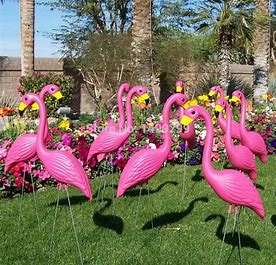 Image result for images pink flamingos lawn ornaments
