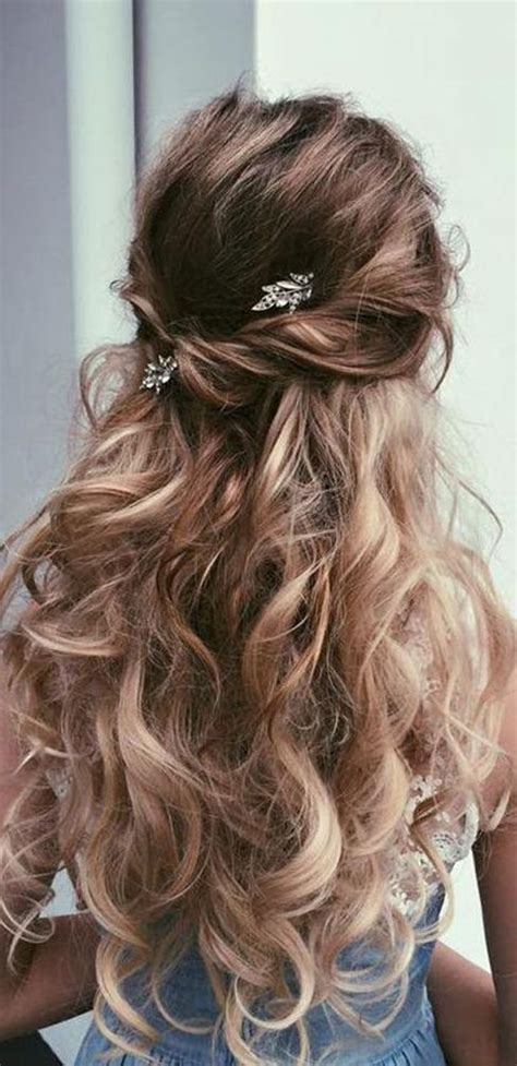 photo of long hairstyles for wedding party