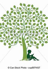 Image result for royalty free clip art of child under a tree with a book