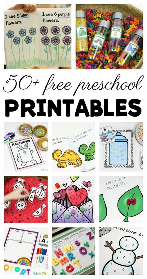 free preschool printables for early childhood
