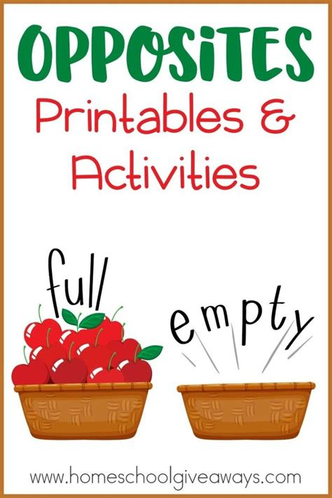 opposites printables and activities opposites preschool