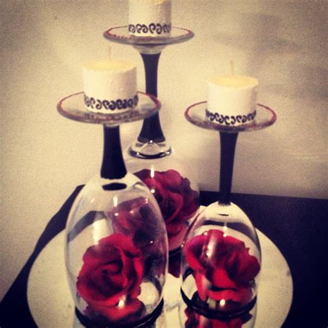 romantic red black and white centerpiece red white
