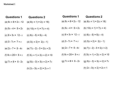 equations with variables on both sides worksheets