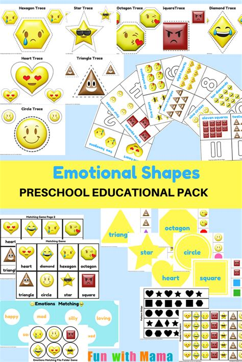 emotions shapes free printable preschool pack fun with