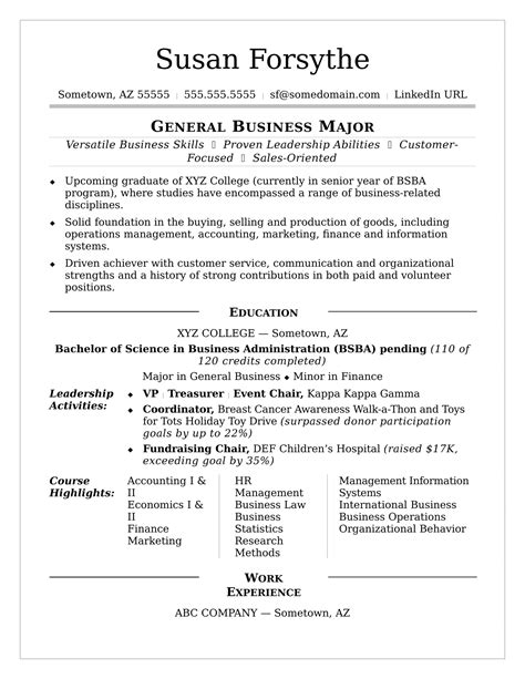 college resume monster com