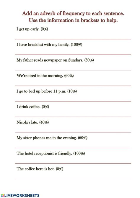 adverbs of frequency interactive worksheet
