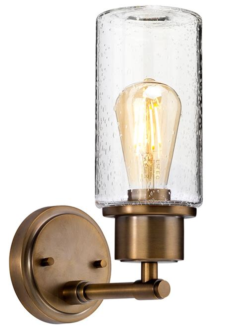 elstead morvah bathroom wall light brushed brass bubble glass