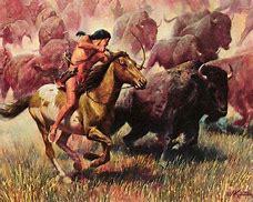 Résultat d'images pour images indiens chassant les bisons