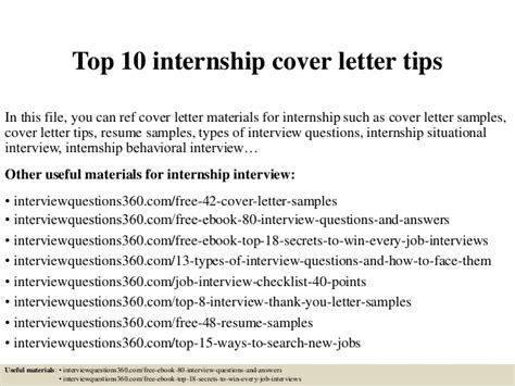 TOP INTERNSHIP COVER LETTER TIPS