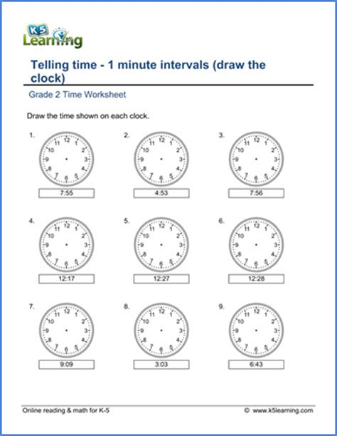 grade telling time worksheets minute intervals draw
