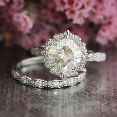 k rose gold moissanite engagement ring wedding set