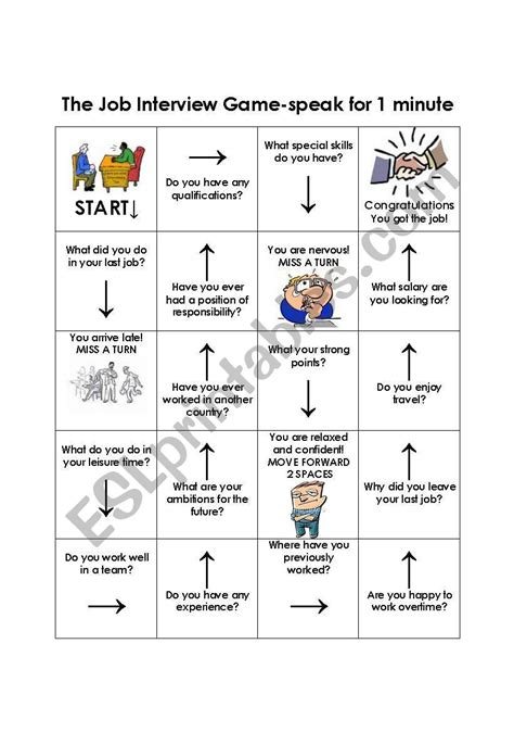 the job interview boardgame esl worksheet by kellywobble