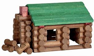 """Image result for """"Toy-Cabin Construction,"""" which are known as Lincoln Logs."""