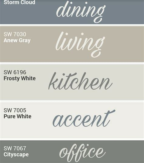 sherwin williams whole home palette paint colors for