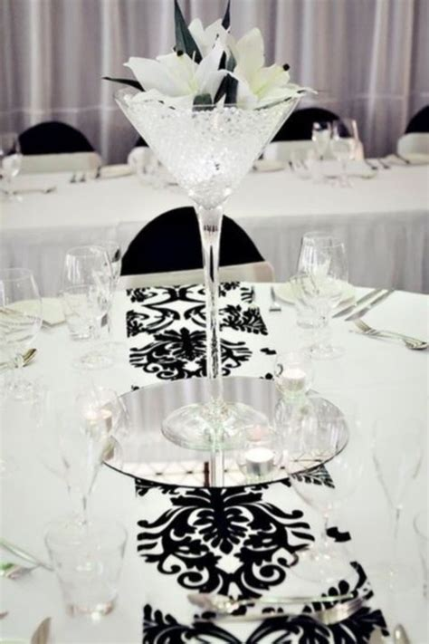 cool black and white wedding centerpieces black