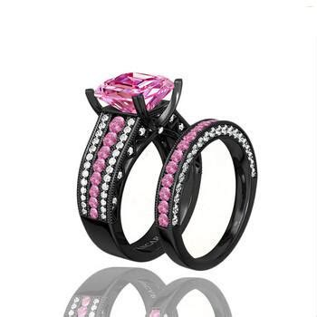 turkish engagement couple rings with pink gemstone
