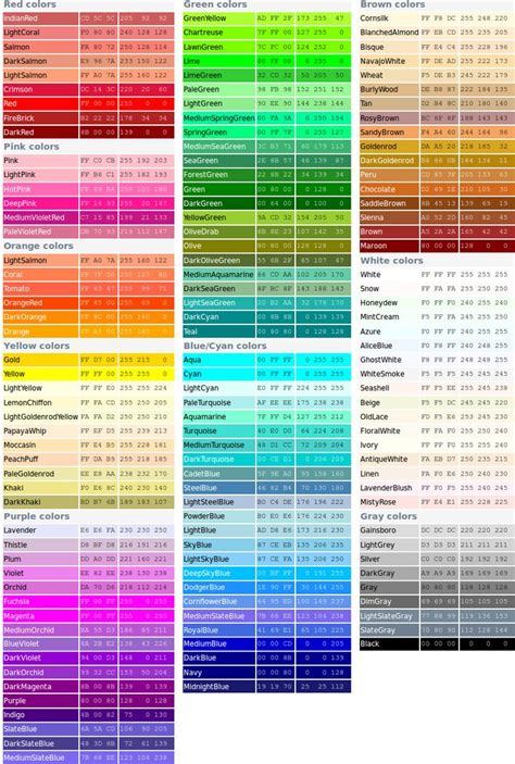 official color names color reference pinterest