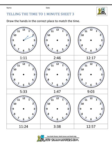 clock worksheets to minute