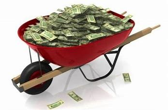 Image result for images of wheelbarrows full of money
